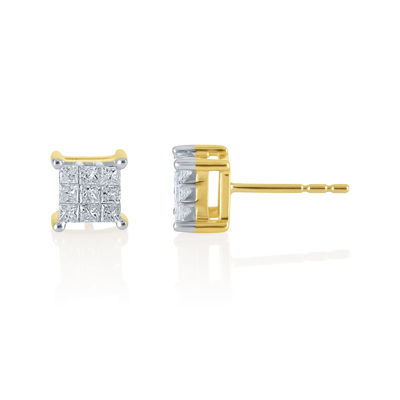 1 CT. T.W. Princess Diamond 10K Stud Earrings