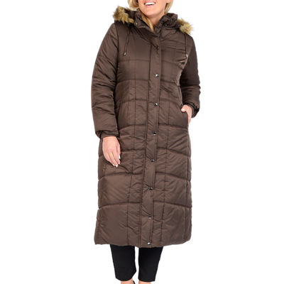 Excelled® Faux-Fur Trim Long Puffer Jacket - Plus
