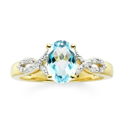 Genuine Blue Topaz and Diamond-Accent 10K Yellow Gold Ring
