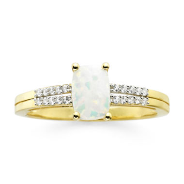 Lab-Created Opal and Diamond-Accent 10K Gold Over Sterling Silver Ring