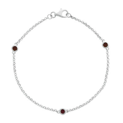 Genuine Garnet Sterling Silver Station Bracelet