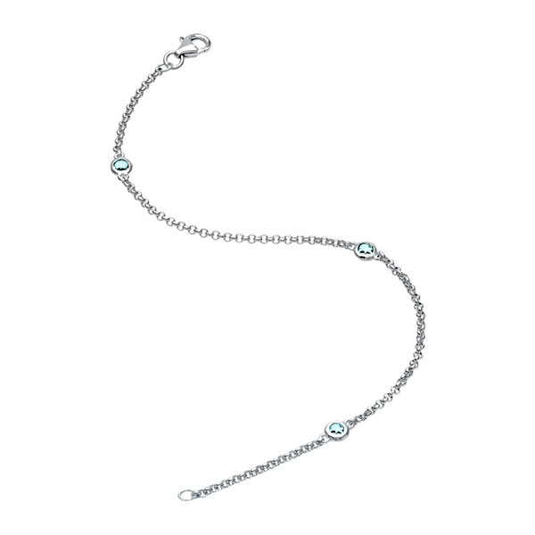 Genuine Aquamarine Sterling Silver Station Bracelet