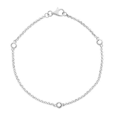 Genuine White Topaz Sterling Silver Station Bracelet