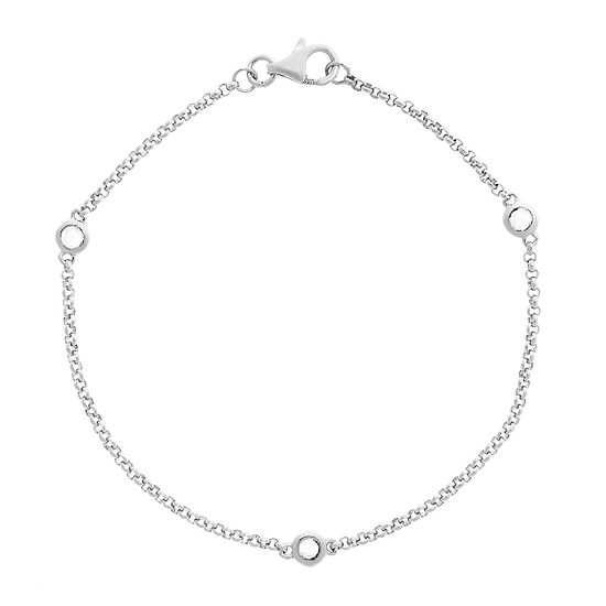Genuine White Topaz Sterling Silver Station Bracelet