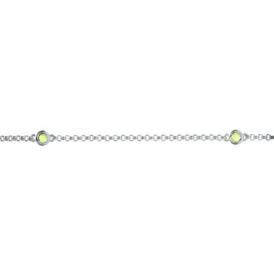 Genuine Peridot Sterling Silver Station Bracelet
