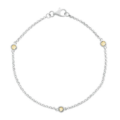 Genuine Citrine Sterling Silver Station Bracelet