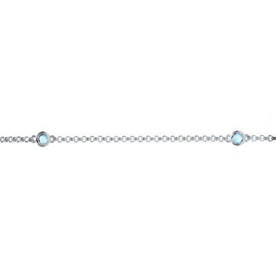 Genuine Sky Blue Topaz Sterling Silver Station Bracelet