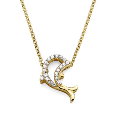 1/10 CT. T.W. Diamond 10K Yellow Gold Dolphin Pendant Necklace