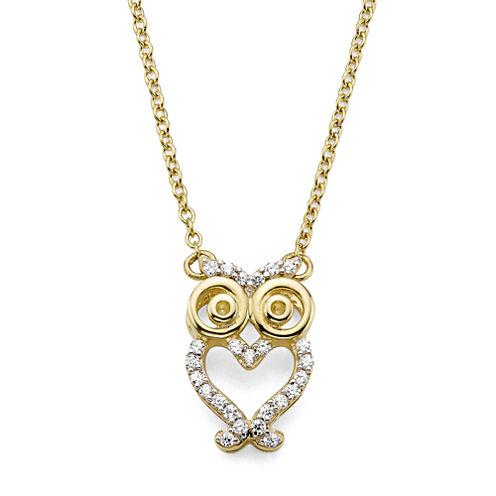 1/10 CT. T.W. Diamond 10K Yellow Gold Owl Pendant Necklace
