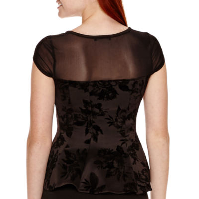 by&by Short-Sleeve Flocked Peplum Top