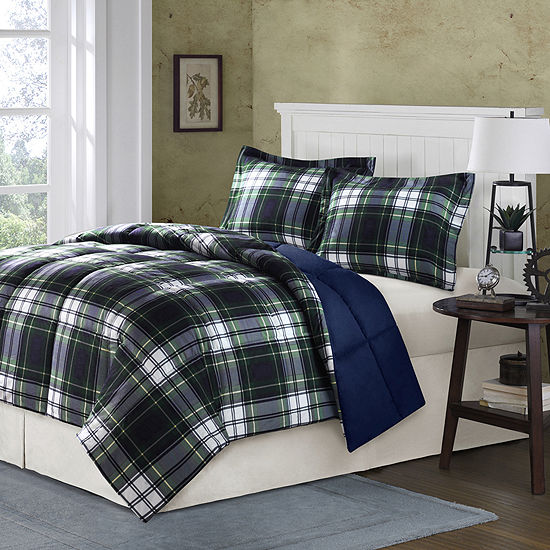 Madison Park Essentials Hartford Navy Plaid Down-Alternative Comforter Set