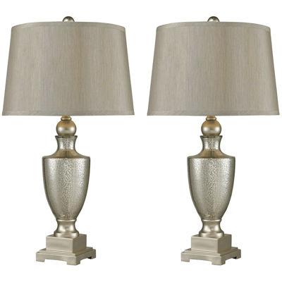 Set of 2 Antique Mercury Glass Table Lamps