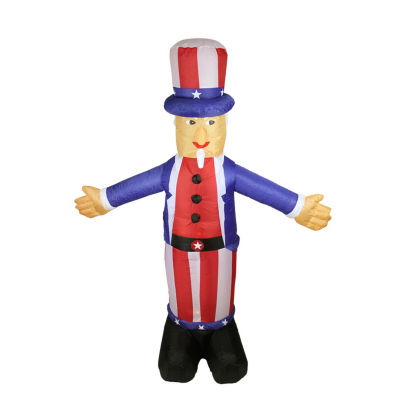 6' Inflatable Lighted Standing Uncle Sam Yard Art Decoration