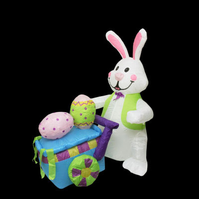 4' Inflatable Lighted Easter Bunny with Push Cart Yard Art Decoration