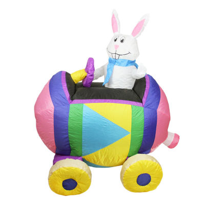 4' Inflatable Eater Bunny Driving an Egg Car Yard Art Decoration