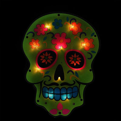 "14"" Lighted Halloween Day of the Dead Green Skull Window Silhouette Decoration"