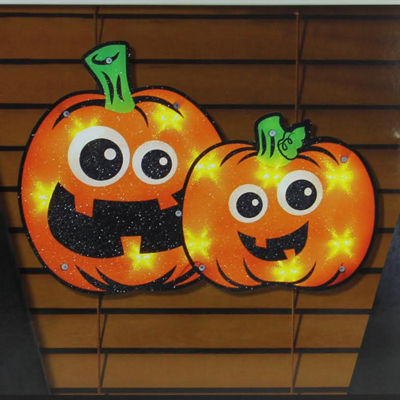 "16.25"" Lighted Jack-o-lantern Pumpkin Couple Halloween Window Silhouette Decoration"