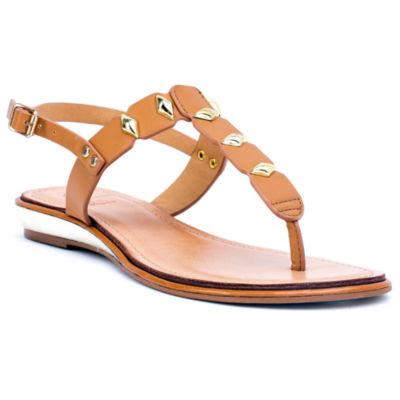 GC Shoes Womens Quinn Slingback Strap Flat Sandals