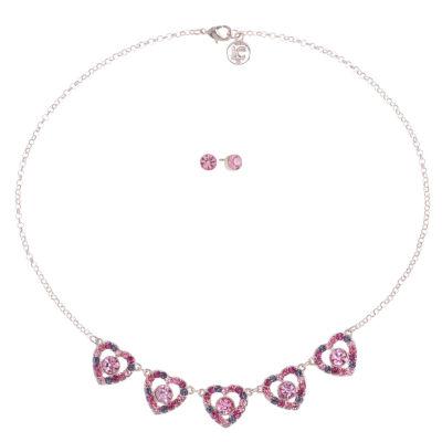 Liz Claiborne Pink Rose Tone Heart 2-pc. Jewelry Set