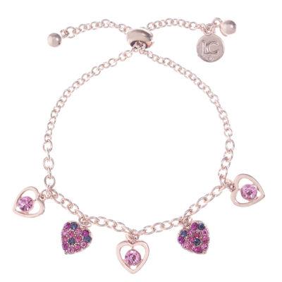 Liz Claiborne Pink Rose Tone Heart Charm Bracelet