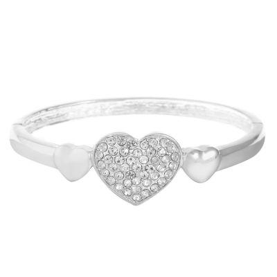 Liz Claiborne White Heart Stretch Bracelet
