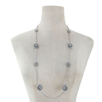 Monet Jewelry Womens Gray Strand Necklace