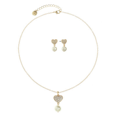 Monet Jewelry Clear Simulated Pearl Gold Tone Heart 2-pc. Jewelry Set