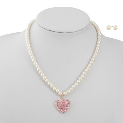 Monet Jewelry Pink Simulated Pearl Rose Tone Heart 2-pc. Jewelry Set