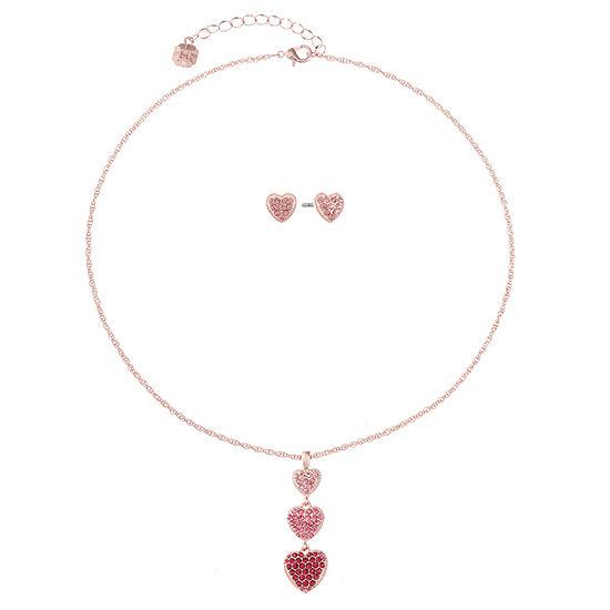 Monet Jewelry Pink Rose Tone Heart 2-pc. Jewelry Set