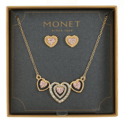 Monet Jewelry Pink Gold Tone Heart 2-pc. Jewelry Set