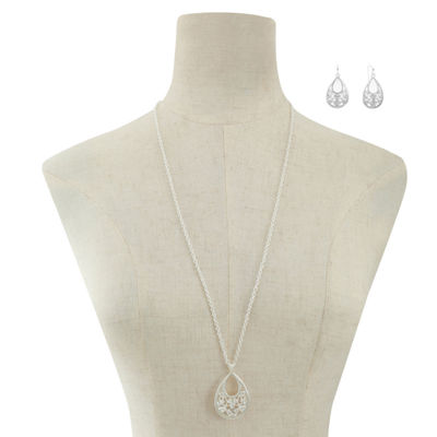 Liz Claiborne Clear Silver Tone 2-pc. Jewelry Set