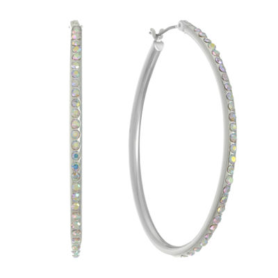 Liz Claiborne White 49mm Hoop Earrings