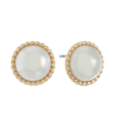 Monet Jewelry White 17.3mm Stud Earrings