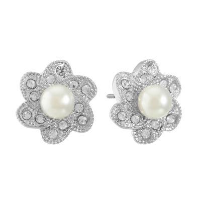 Monet Jewelry White 28mm Stud Earrings