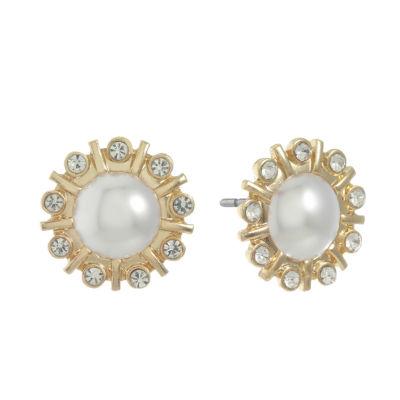 Monet Jewelry White 17.8mm Stud Earrings