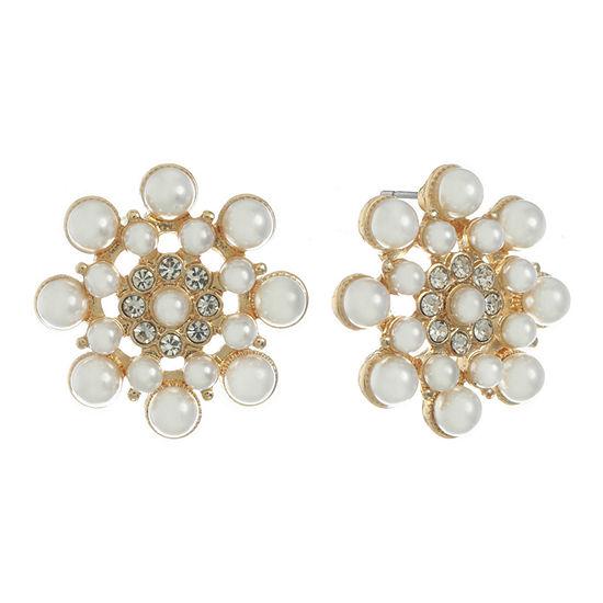 Monet Jewelry White 24.8mm Stud Earrings