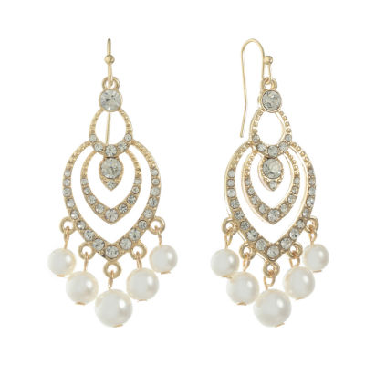 Monet Jewelry White Chandelier Earrings