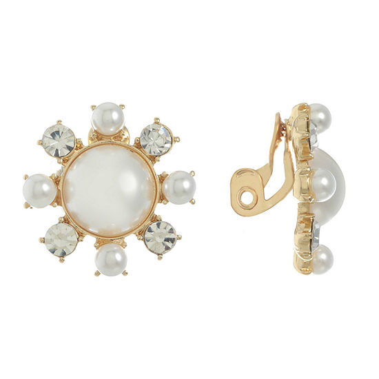 Monet Jewelry 1 Pair White Clip On Earrings