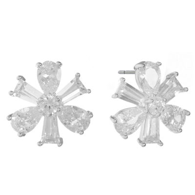 Monet Jewelry Cubic Zirconia 14.5mm Flower Stud Earrings