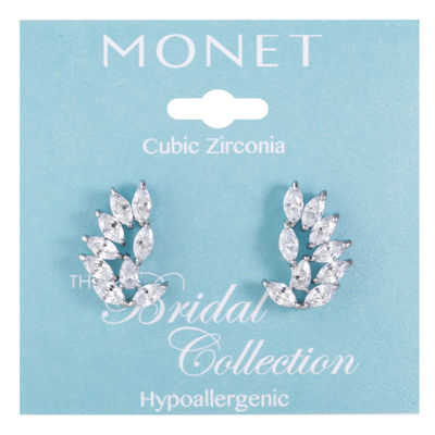 Monet Jewelry Clear Cubic Zirconia Ear Climbers