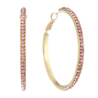 Monet Jewelry Pink 50mm Hoop Earrings