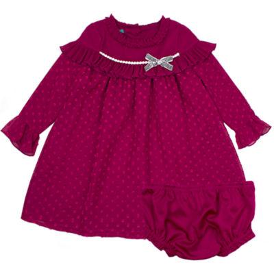 Nanette Baby Long Sleeve Dot Chiffon Dress - Baby Girls
