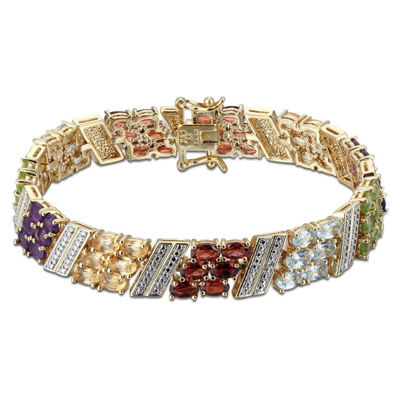 Multi Gemstone & Diamond-Accent Silver-Plated Bracelet