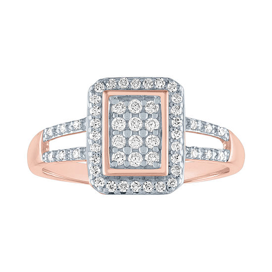 Womens 1/3 CT. T.W. Genuine Diamond 10K Rose Gold Cocktail Ring