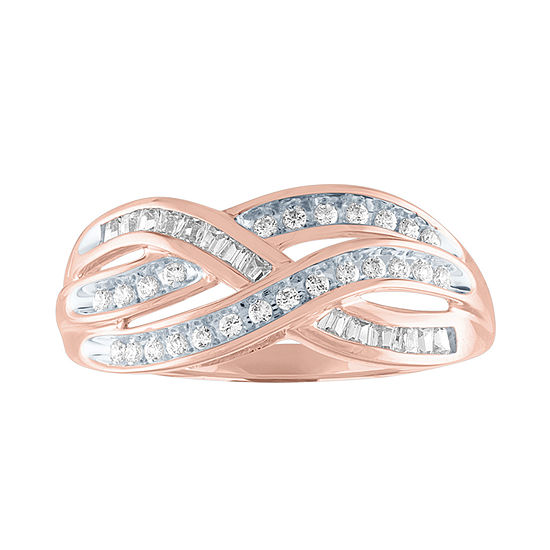Womens 1/3 CT. T.W. Genuine Diamond 10K Rose Gold Cocktail Ring