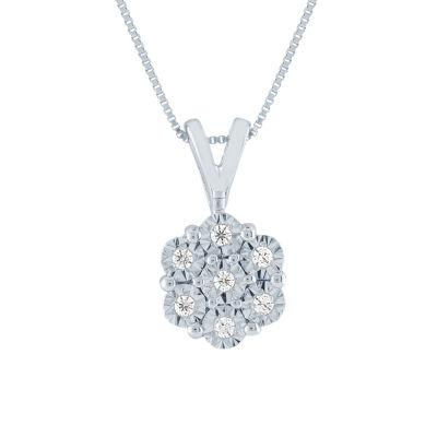 Diamond Blossom Womens Diamond Accent Genuine Diamond 10K White Gold Pendant