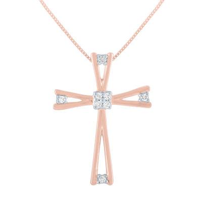 Womens Diamond Accent Genuine Diamond 10K Rose Gold Cross Pendant