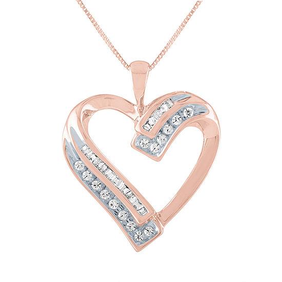 Womens 1/5 CT. T.W. Genuine Diamond 10K Rose Gold Heart Pendant