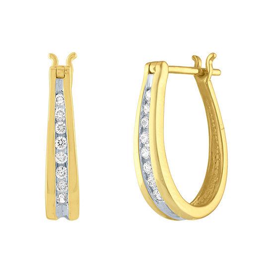 1/5 CT. T.W. Genuine Diamond 10K Gold 14mm Hoop Earrings
