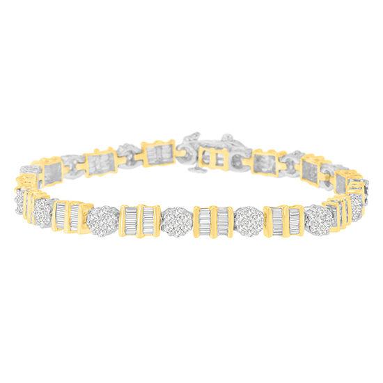 3 1 2 Ct Tw Genuine White Diamond 14k Two Tone Gold 7 Inch Tennis Bracelet
